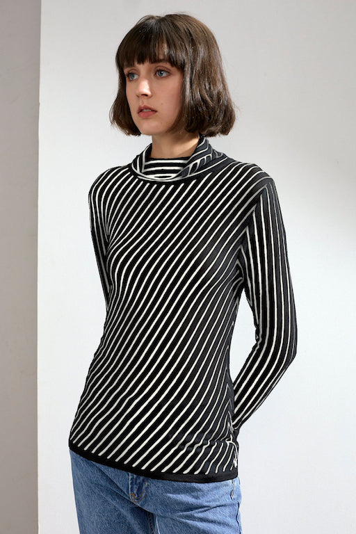 Ember Striped Feather Cashmere Top Black/Ivory | 22 Factor | ECO-LUXE knitwear