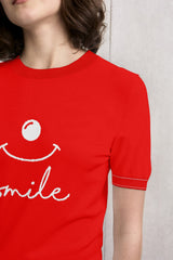 Smile Short Sleeves Knit Top