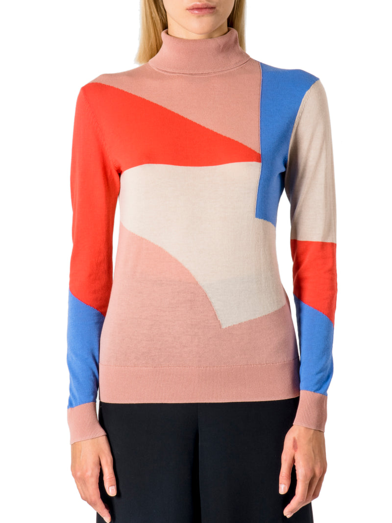 22 Factor | Top | Intarsia Roll Neck in Beige