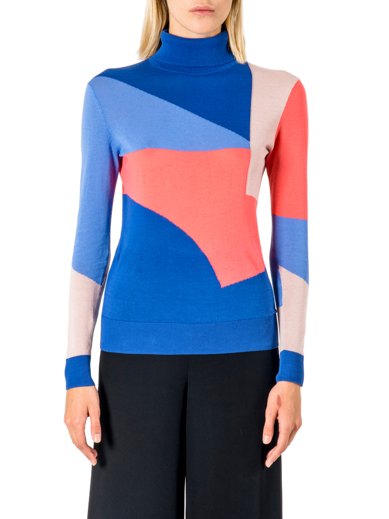 Intarsia Roll Neck in Navy