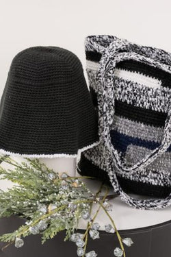 22 Factor | Hello Sunshine! Crochet Hat & Handbag Grey Black Gift Set