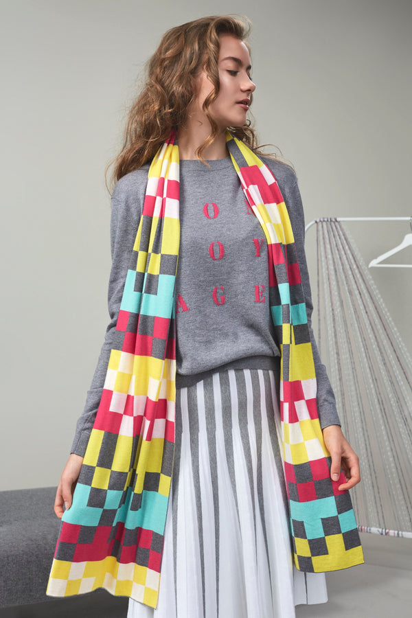Klimt Mosaic Scarf Pink Checkers | 22 Factor | ECO-LUXE knitwear