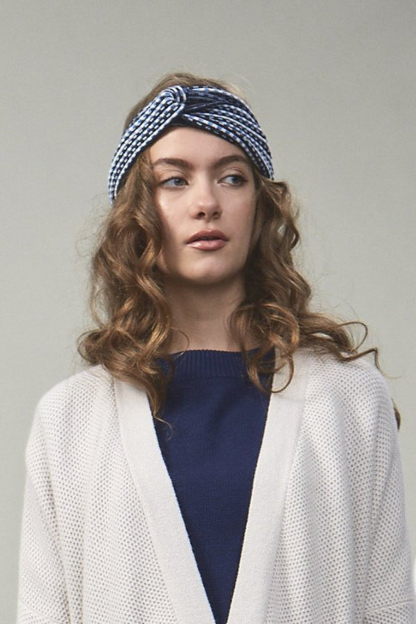 Brigitte Textured Stitch Design Headband Multi Blue x Ivory | 22 Factor | ECO-LUXE knitwear