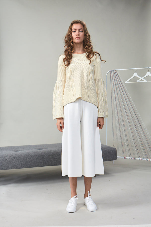 Chloe Bouclé-Tweed Cropped Top Ivory | 22 Factor | ECO-LUXE knitwear