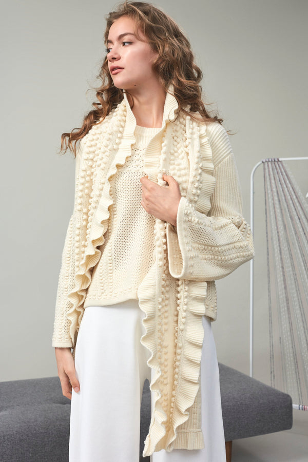 Chloe Bouclé-Tweed Frill Scarf Ivory | 22 Factor | ECO-LUXE knitwear