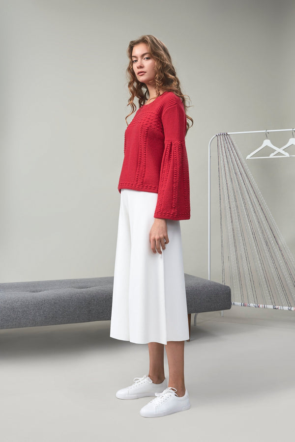 Chloe Bouclé-Tweed Cropped Top Red | 22 Factor | ECO-LUXE knitwear