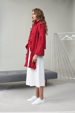 Chloe Bouclé-Tweed Frill Scarf Red | 22 Factor | ECO-LUXE knitwear