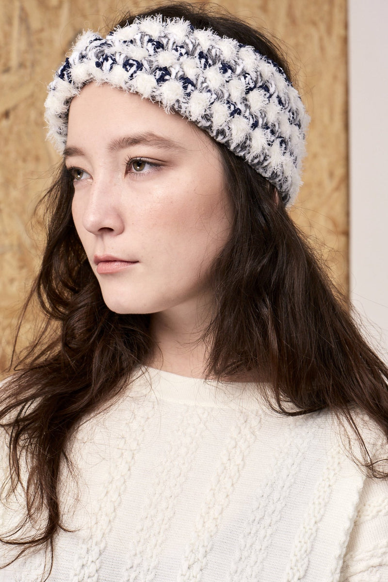 Elysia Handmade Crochet Headband Grey Blue | 22 Factor | ECO-LUXE knitwear