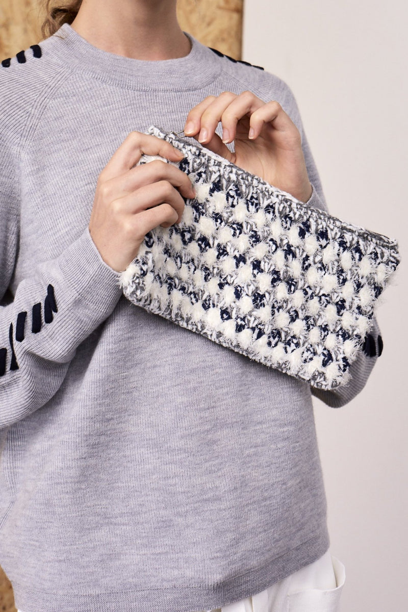 Nadine Crochet Clutch Grey Blue | 22 Factor | ECO-LUXE knitwear