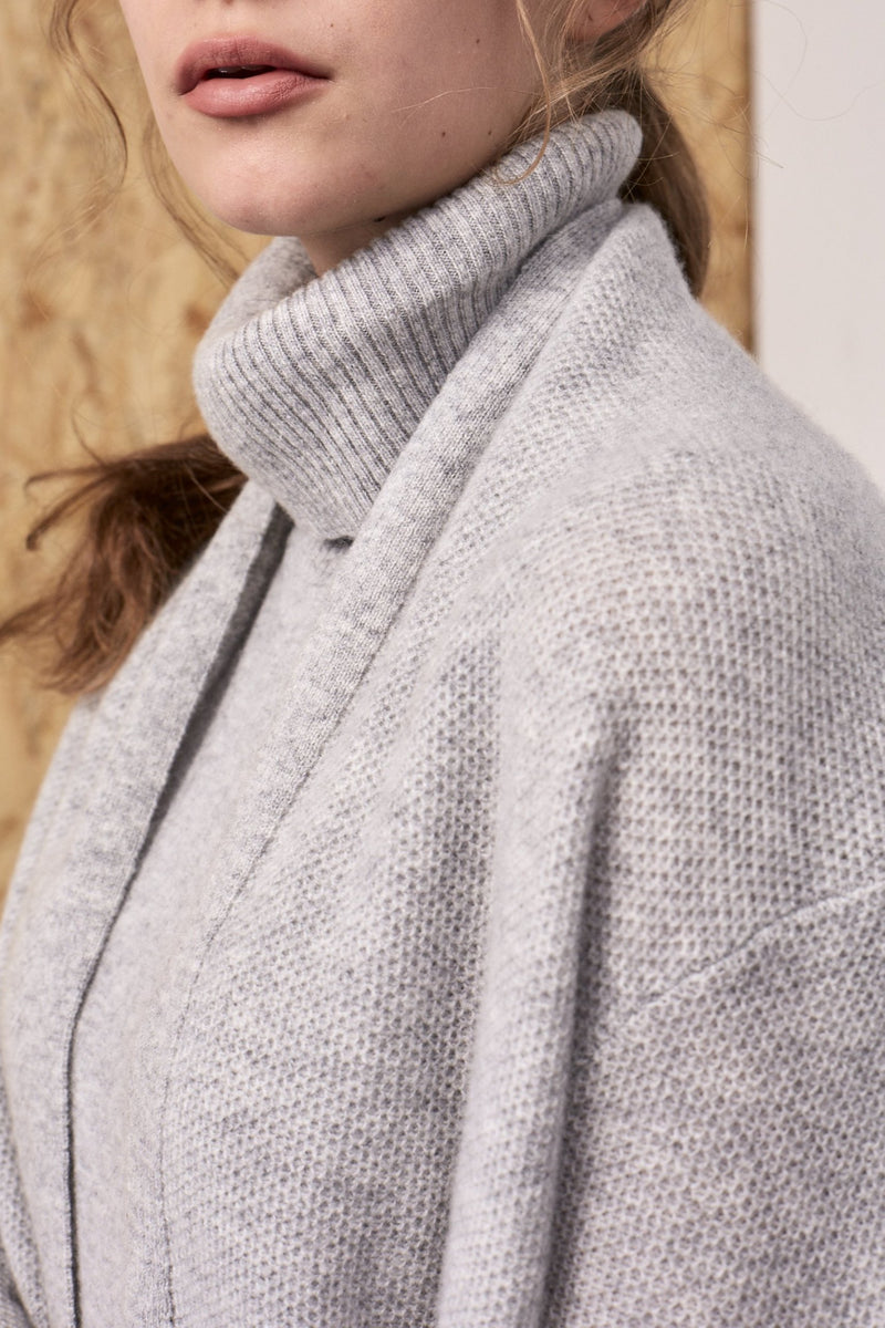 Neith Cashmere Textured Shawl Cardigan Melange Grey | 22 Factor | ECO-LUXE knitwear