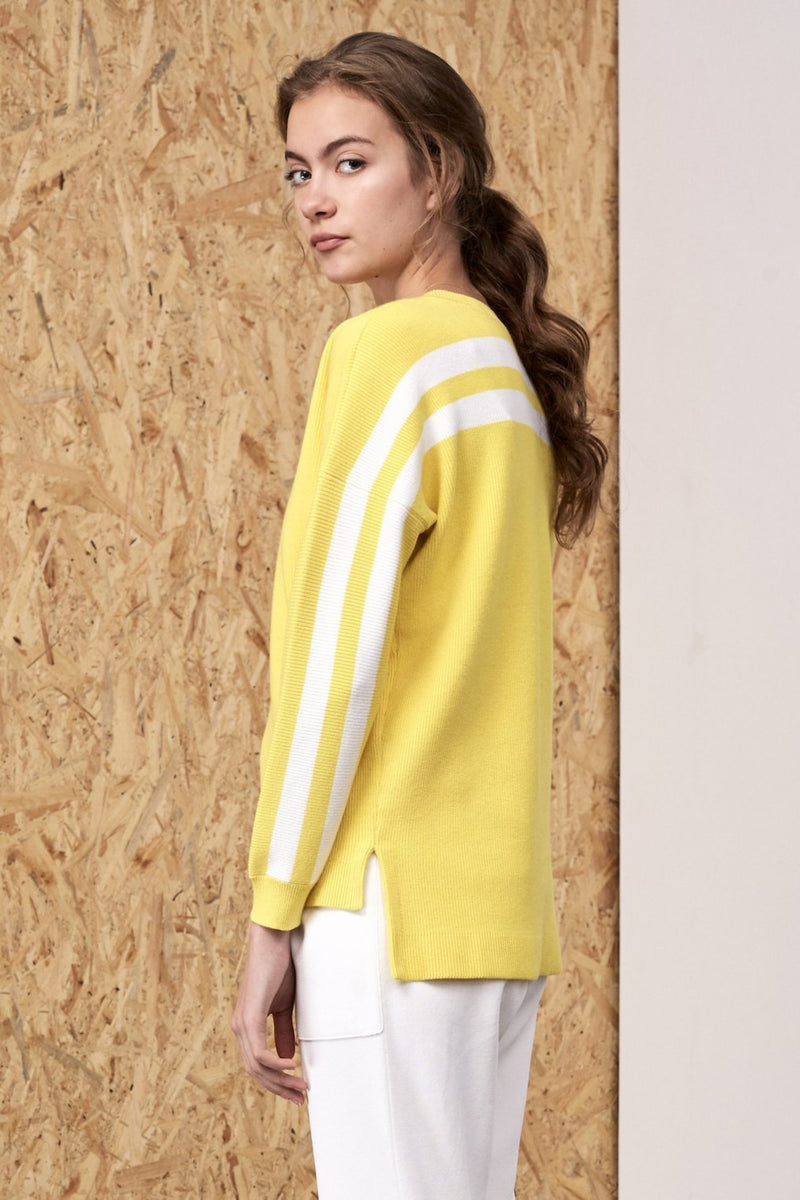 Eos Back Striped Sweater Yellow | 22 Factor | ECO-LUXE knitwear