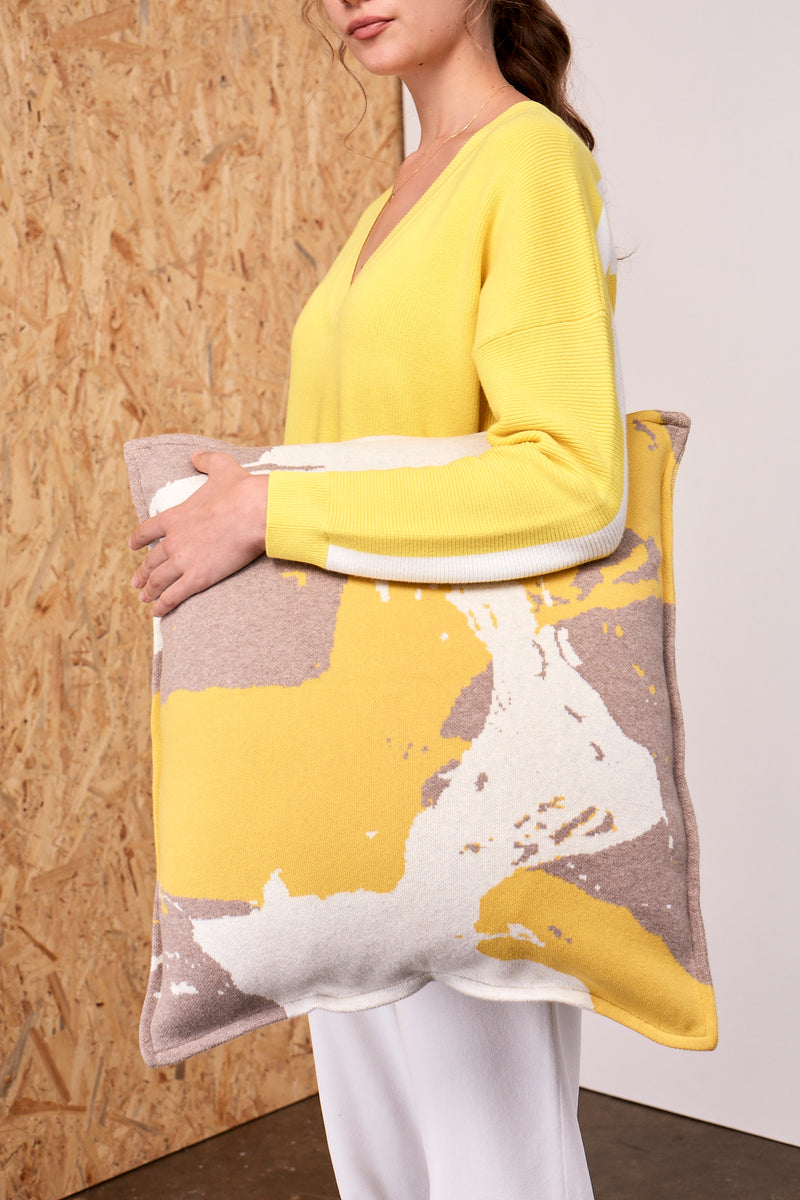 Splash Print Jacquard Cushion Cover Taupe x Yellow | 22 Factor | ECO-LUXE knitwear
