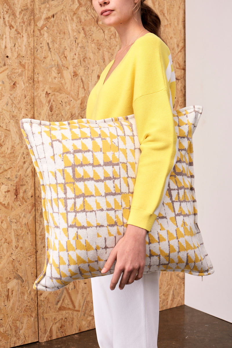 Grid Jacquard Cushion Cover Taupe x Lemon | 22 Factor | ECO-LUXE knitwear