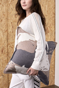 Splash Print Jacquard Cushion Cover Taupe x Grey | 22 Factor | ECO-LUXE knitwear