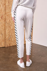 Calypso Linear Knitted Track Suit Pants White | 22 Factor | ECO-LUXE knitwear