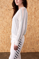 Brizo Até Mesh Sleeve Panel Sweater White | 22 Factor | ECO-LUXE knitwear
