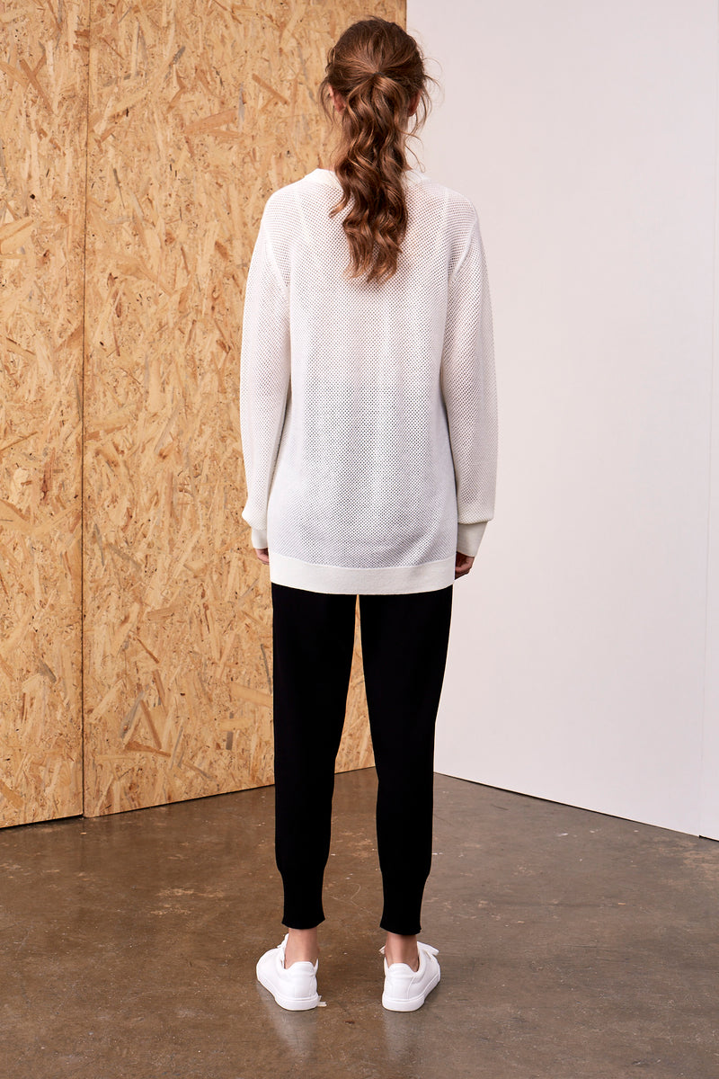 'I am Enough' Intarsia Wool Sweater Ivory | 22 Factor | ECO-LUXE knitwear