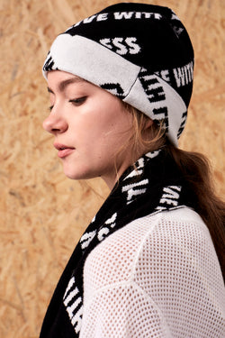 'Live with Less' Beanie Black x Ivory | 22 Factor | ECO-LUXE knitwear