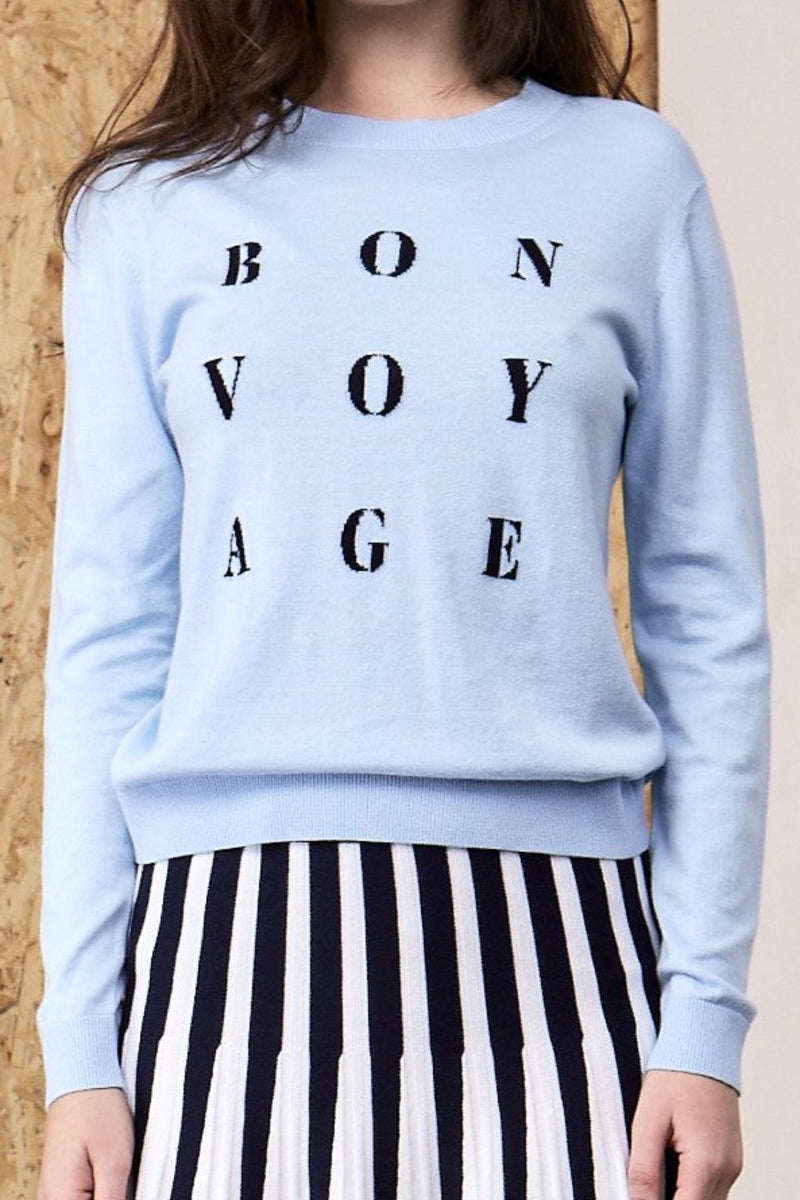 'Bon Voyage' Knit Sweater Sky Blue | 22 Factor | ECO-LUXE knitwear