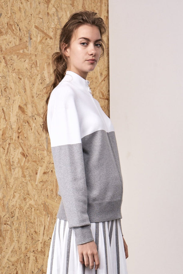 Clio Two Tone Knitted Track Suit Grey x White | 22 Factor | ECO-LUXE knitwear