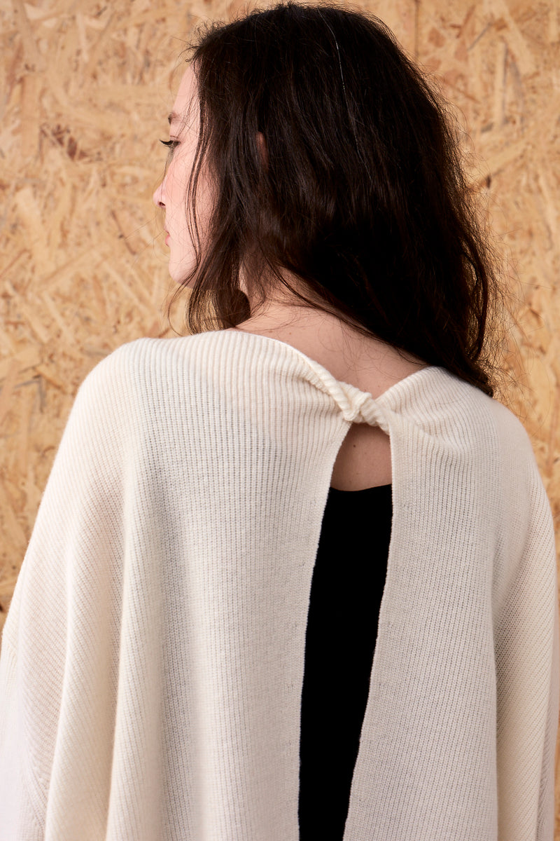 Selene Cashmere Back Twist Pullover Ivory | 22 Factor | ECO-LUXE knitwear