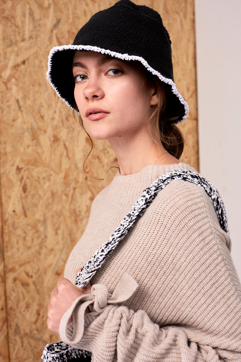 Mina Crochet Hat Black | 22 Factor | ECO-LUXE knitwear