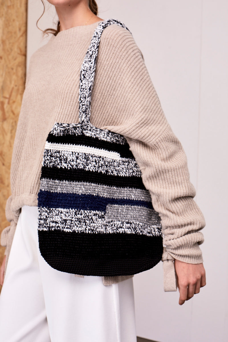 Iris Knitted Handbag Grey Black Mix | 22 Factor | ECO-LUXE knitwear