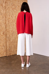 Selene Cashmere Back Twist Pullover Red  | 22 Factor | ECO-LUXE knitwear