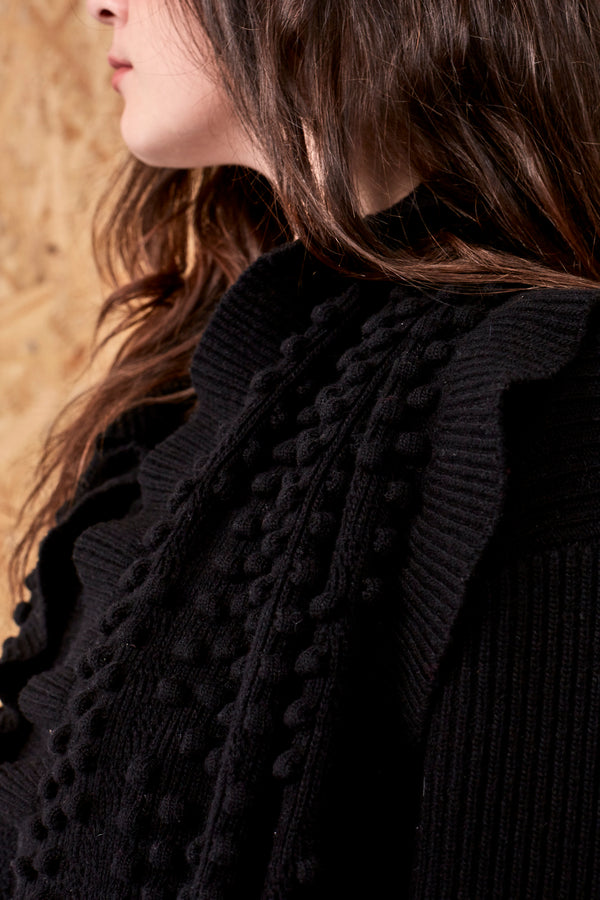 Chloe Bouclé-Tweed Frill Scarf Black | 22 Factor | ECO-LUXE knitwear