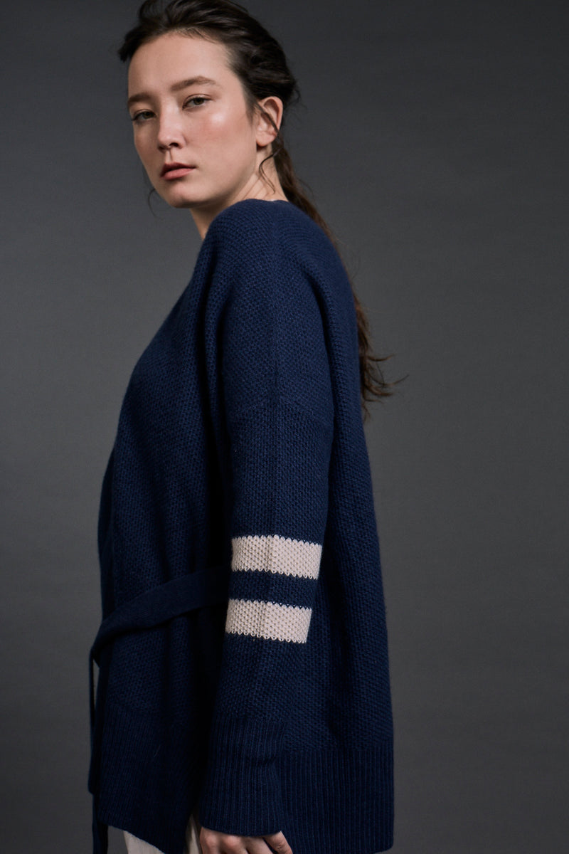 Gaia Honey Comb Knitted Cardigan Navy | 22 Factor | ECO-LUXE knitwear