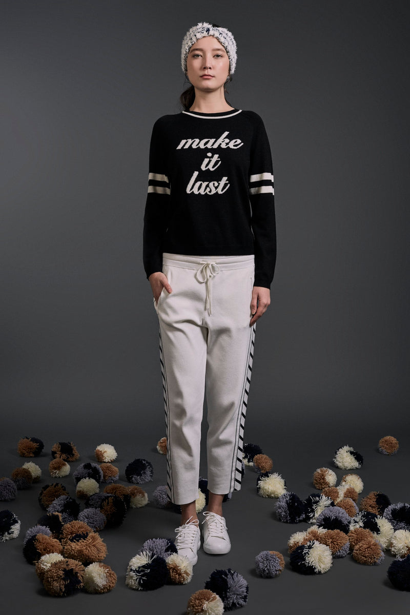 'Make it last' Intarsia Wool Sweater Black| 22 Factor | ECO-LUXE knitwear