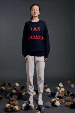 'I am Enough' Intarsia Wool Sweater Navy | 22 Factor | ECO-LUXE knitwear