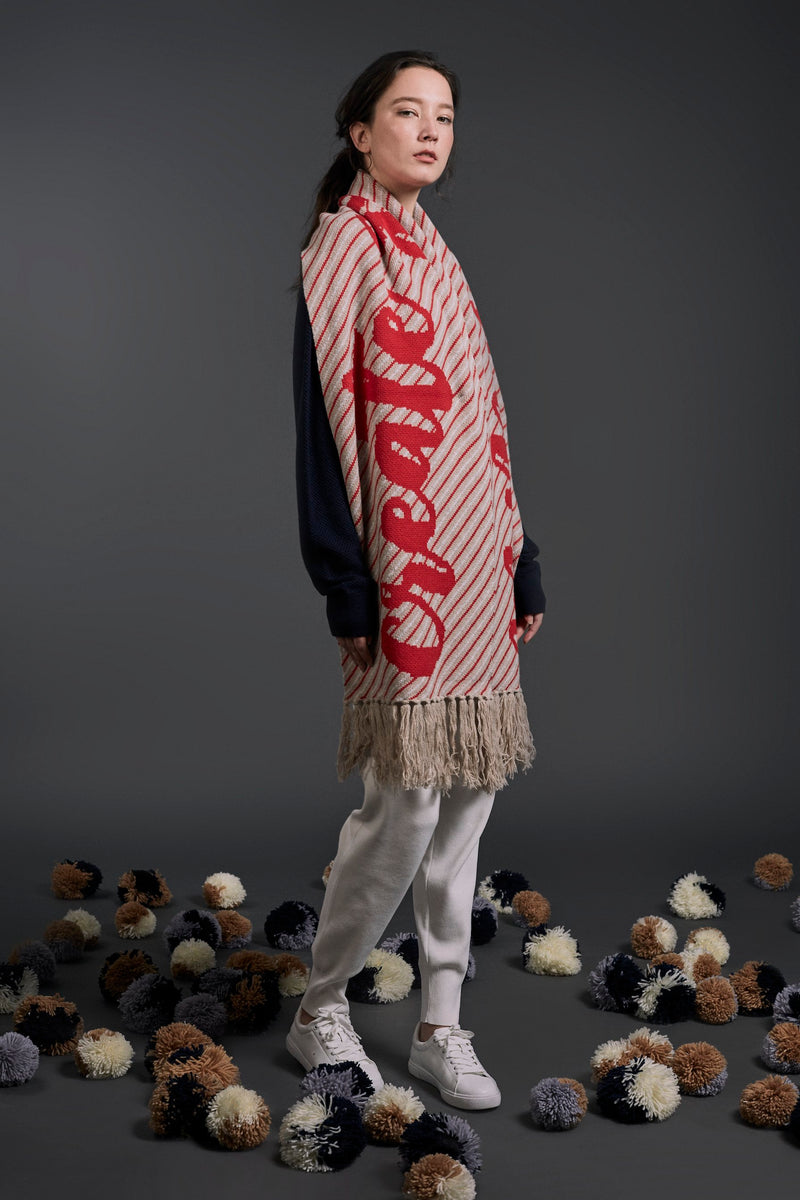 'Create Good Karma' Scarf Beige | 22 Factor | ECO-LUXE knitwear