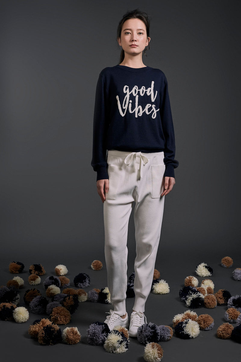 """Good Vibes"" Intarsia Wool Sweater Navy 