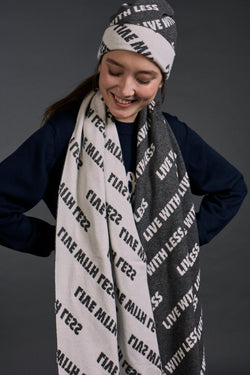 'Live with Less' Scarf Grey x Ivory | 22 Factor | ECO-LUXE knitwear