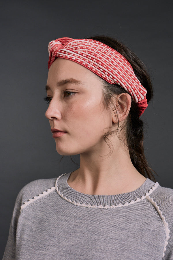 Brigitte Textured Stitch Design Headband Multi Red x Ivory | 22 Factor | ECO-LUXE knitwear