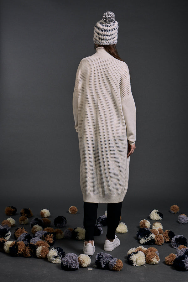 Maia Long Lined Coatigan Ivory | 22 Factor | ECO-LUXE knitwear