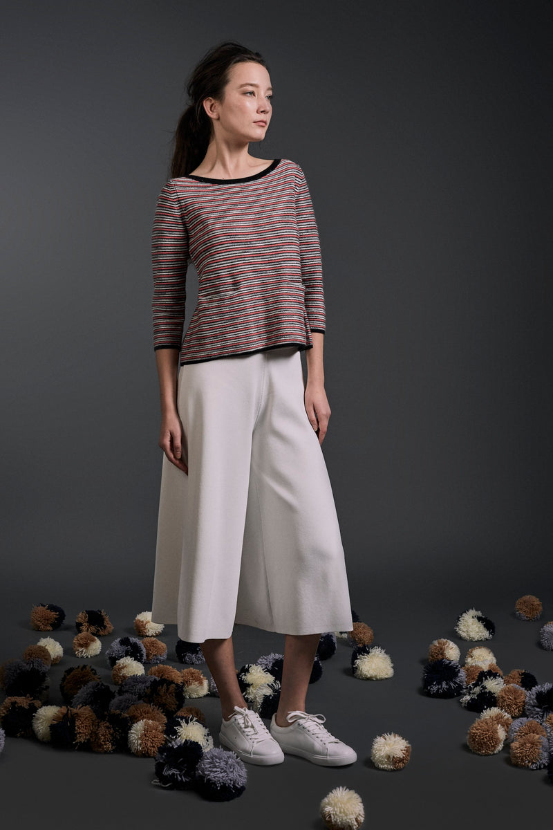 Thalia Textured Stripe Top Pink Mix l 22 Factor | ECO-LUXE knitwear