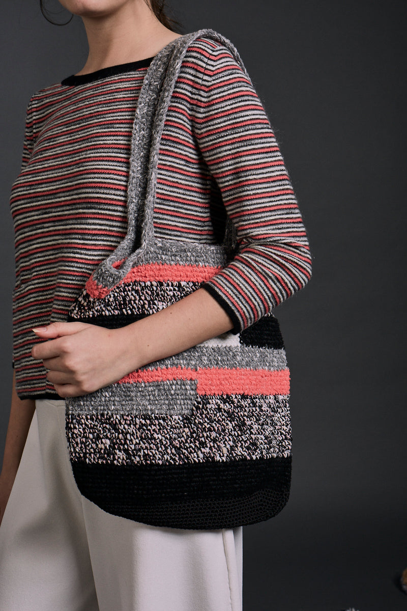 Iris Knitted Handbag Schausse Pink Mix  | 22 Factor | ECO-LUXE knitwear