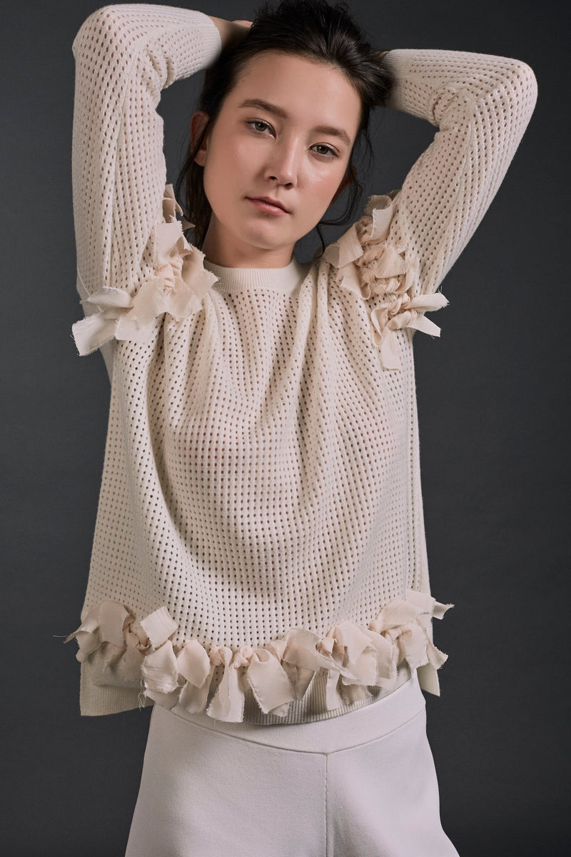 Alena Ribbon Deco Top Ivory | 22 Factor | ECO-LUXE knitwear