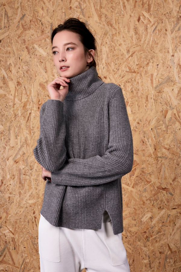 Athena Cashmere Pullover Dark Melange Grey | 22 Factor | ECO-LUXE knitwear