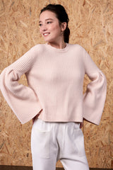 Hestia Flared Sleeve Cropped Top Champagne Pink | 22 Factor | ECO-LUXE knitwear