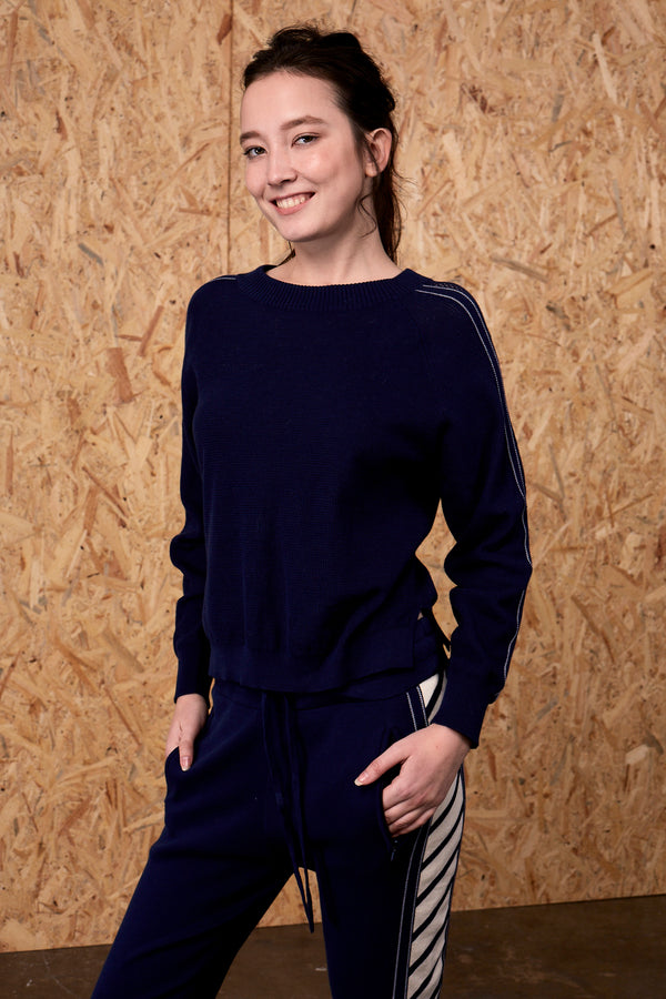 Brizo Até Mesh Sleeve Panel Sweater Navy | 22 Factor | ECO-LUXE knitwear