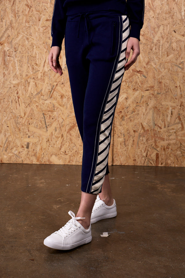 Calypso Linear Knitted Track Suit Pants Navy | 22 Factor | ECO-LUXE knitwear