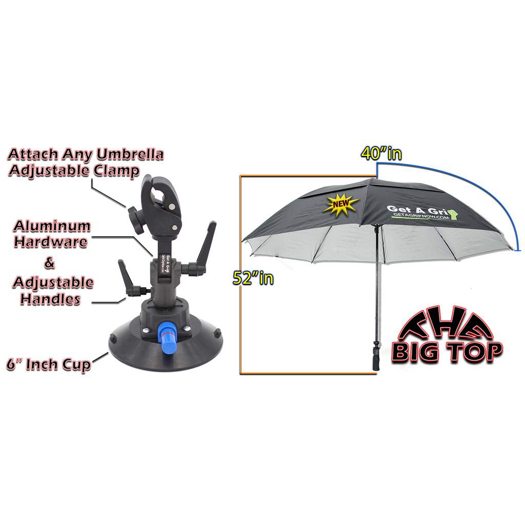 "The Get A Grip Combo 6 inch cup with 80"" Big Top Umbrella Combo"