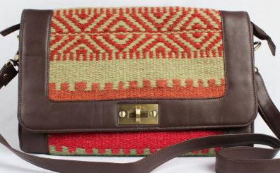 Multi-Color-Brown Faux Leather Kilim Sling Bag