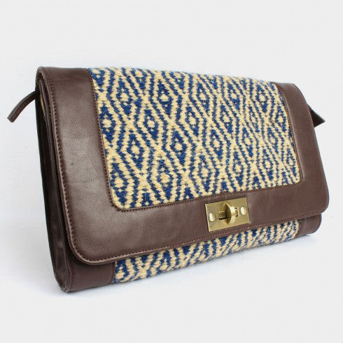 Ivory-Navy-Brown Faux Leather Kilim Sling Bag