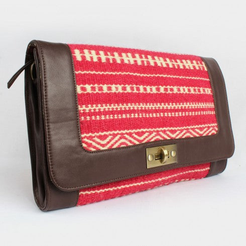 Fuschia-Ivory-Brown Faux Leather Kilim Sling Bag