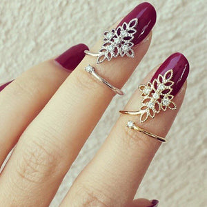 Diamond Flower Knuckle Ring