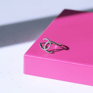Rhinestone Interlock Ring